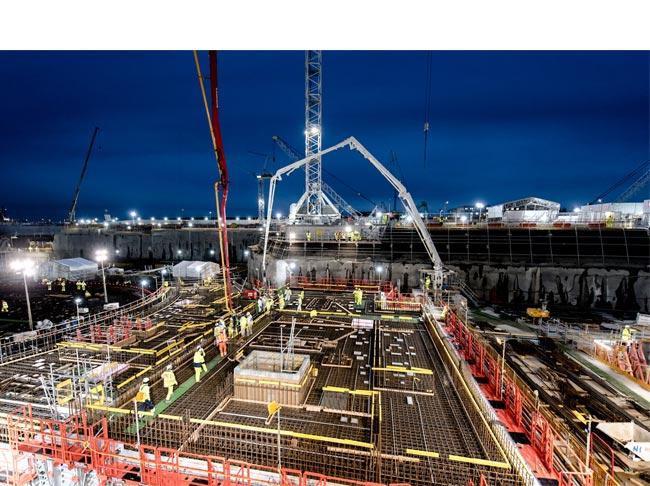 HPC progress update - Unit 1 Nuclear Island Common Raft first J0 concrete pour