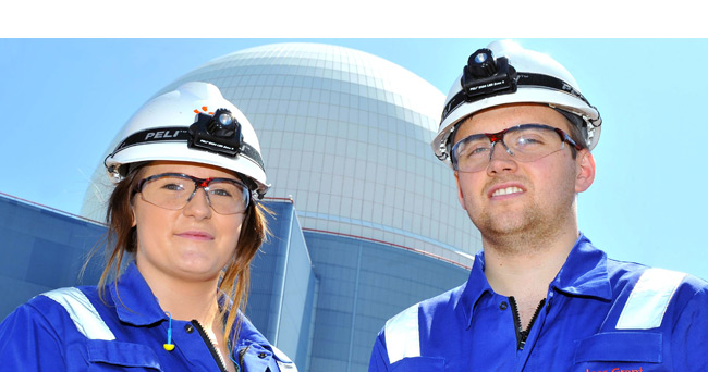 Apprentices in front of Sizewell B